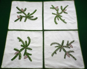 Christmas Vintage linen tablecloth handmade embroidery embroidered table cloth Branches pine cones Crochet edging