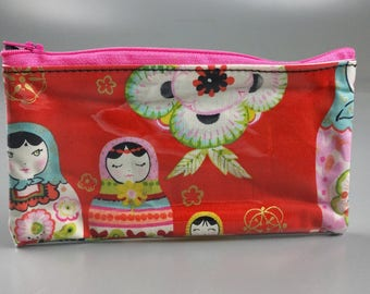 Russian Stacking Dolls Vinyl Zippered Pouch