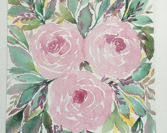 Pink roses watercolor floral painting 7x10in