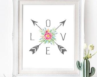 LOVE Arrows Poster - INSTANT DOWNLOAD - Printable Southwest Floral Bohemian inspired digital Art Print, Wedding Art, Pastel Boho, Gallery