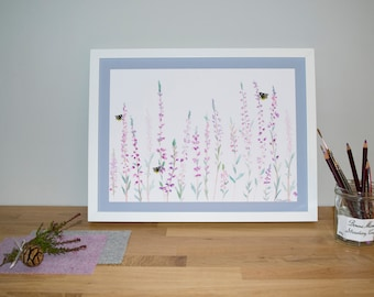 Heather and Bee 30x40cm Watercolour Print  | Signed Glicee Print | by Hannah Knapton | Purple, Pink and White