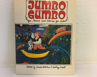 Vintage Book, Jumbo Gumbo, Songs, Poems and Stories for Children, Kids Poetry Book, Children's Music Book
