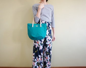 Turquoise Petite Canvas Tote Bag with Leather Strap for her - Weekend Chic Casual Tote