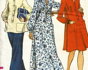 Vintage 70s Vogue 8800 Misses Maternity Dress, Tunic and Pants Sewing Pattern Size 10 Bust 32.5