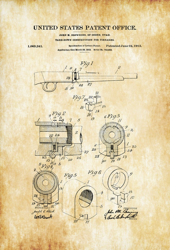 Browning 1913 Firearm Patent Patent Print Wall Decor Gun