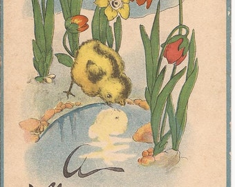 "Carte postale ancienne de Pâques, ""A Happy Easter"", Made in U.S.A., divided back, 1910-1920, sample from The Springfield News Company"