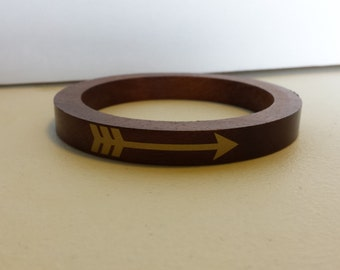 Wood Bangle Bracelet with Gold Toned Arrows