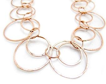 Copper Loop Necklace - Long Copper Necklace - Copper Hoop Necklace - Copper Link Necklace - Hammered Copper Necklace - Copper Chain