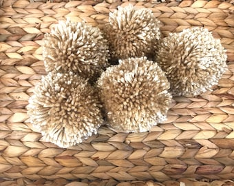 Tan Pom Poms, Extra Large Set of 5, Ecru