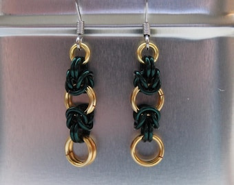 Deep green and gold Byzantine chainmaille earrings