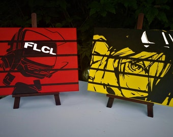 FLCL - TANK!- Hand Painted Acrylic on Hand Stretched Canvas