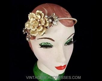 Vintage Bridal Headpiece, Floral Gold Headband, Flower, Rustic, Cottage Chic, Wedding Headband, Floral, Boho, Gold Headpiece, Bridal, Pearl