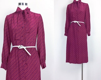 vintage silk dress/ sun dress/ silk shirt dress/shirt dress/ 70s dress/ 60s dress women's size S/M