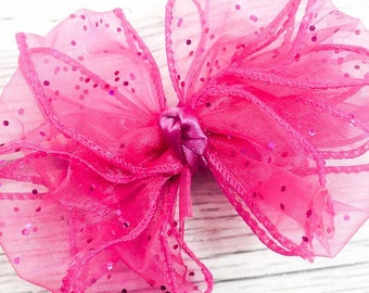 Hot Pink Glittered Organza Fancy Bow Clip for Girls