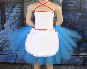 Childs Alice -- Grow With Me tutu skirt-- turquoise and white apron -- fits 2T-6T -- SistersEnchanted