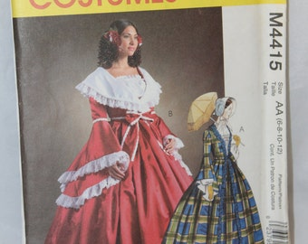McCall's 4415 Southern Style Gown -- Size 6 8 10 12 -- Full Skirt, Top -- Costume, History, Civil War, Ball Gown, Hoop Skirt