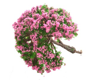 Pink Green Fluffy Miniature Tree Garden Plants Terrarium Doll House Ornament Fairy Decoration  AZ4175