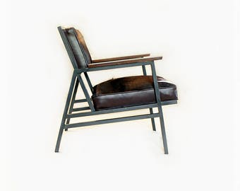 Vintage Mid Century Office Chair   Metal Cowhide Leather Chair   1960s  Office Seating   Upcycled