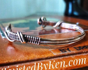 Hand Woven, 18 Gauge, Antiqued Copper Wire, Cuff Bracelet, 5 - 6.5 Inches, Bendable & Adjustable, TwistedByKen, Free Shipping TBK#041718