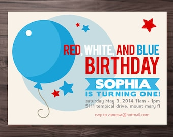 4th of July Birthday Invitation - Red, White, and Blue Birthday Invitation - Independance Day Birthday Invitation - Printable DIY
