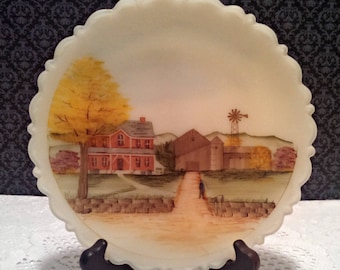 """Vintage Collector Plate, """"Down Home"""" by Fenton, 8 Inch Custard Satin Glass, Hand Painted, Signed, Numbered, Box and Certificate, Circa 1980s"""