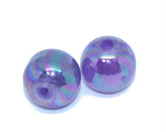 10 pearls 14mm glass purple indigo AB