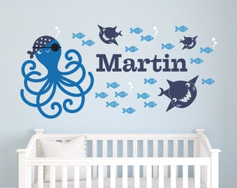 Pirate Octopus Name Wall Decal: Personalized Ocean Baby Nursery Fish Sharks Boy Girl Under the Sea Nautical Underwater Theme