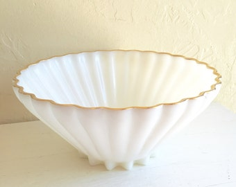 Beautiful Extra Large Milk Glass Bowl White with Gold Trim Fruit Bowl Huge Serving Dish
