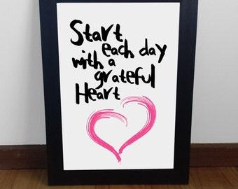 Instant digital download Grateful Heart PRINTABLE poster, print, wall art, nursery art