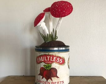 Vintage Kitchen Tin // Embroidered toadstool Mushroom // Home and Living Decorations // Housewarming Kitchen Decor// Plushy