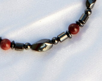 Red Jasper and Magnetite Magnetic Therapy Bracelet