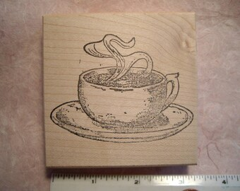 Coffee cup or Tea Cup rubber stamp wood mounted scrapbooking rubber stamping
