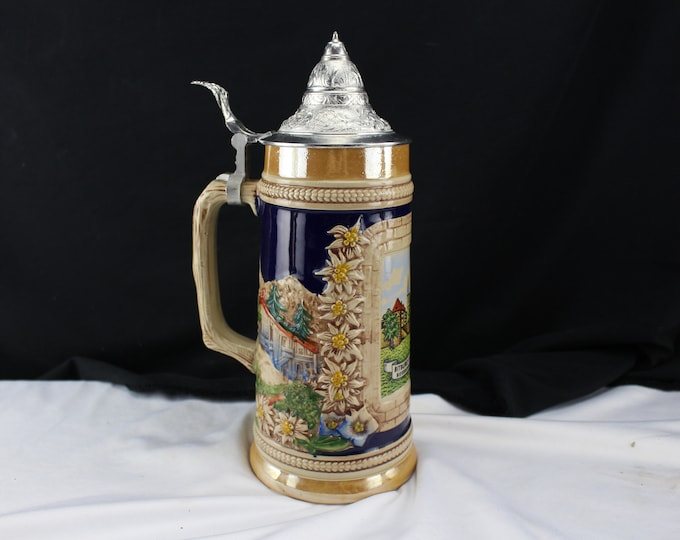 "11"" German Original GERZIT Lidded Beer Stein Bitburg-Efil . Gerz Germany"