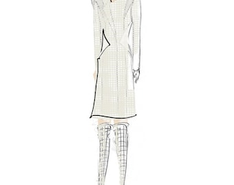 Fashion Illustration Art Print - Angled Shoulder Coat and Long Boots