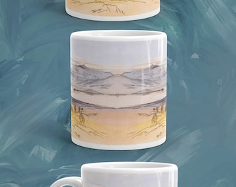 Landscape Mug, Greece, Pencil Sketch Colored Mug, Ceramic Coffee Mug, Tea Mug