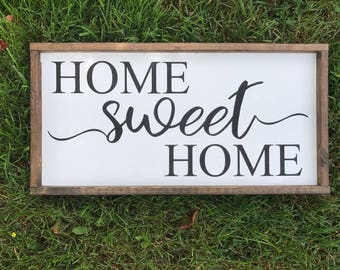 Home Sweet Home Wood Sign, Framed Sign, Home Decor, Rustic, Housewarming gift, Wedding gift