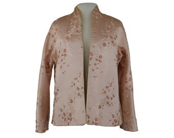 1960s Cheongsam Floral Jacket, 60s Chinese Brocade Jacket, Asian Floral Jacket, Pink Ivory Satin Jacket, Reversible, Large XL Size 14-16
