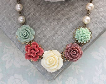 Floral Bib Necklace, Dusty Rose Flowers, Mint Aqua Dahlia, Gift For Mother of the Bride, Statement Jewelry, Ivory Cream Pearls Vintage Style