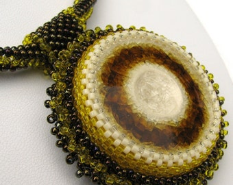Lemon and Chocolate Confection Beadwoven Necklace (2421) - An Original Sand Fibers Creation