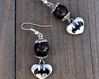 Batman Earrings Superhero Style Heart Black Onyx Gemstones Sterling Silver Earwires Gotham Fans Megacon Comic Book Lover Earrings