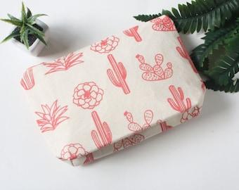 Succulentes écran imprimé maquillage sac rose, Cactus toile, fermeture à glissière rose Cactus trousse, art approvisionnement pochette