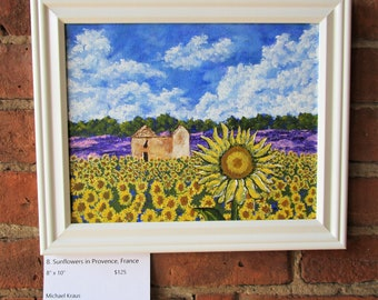 "Sunflowers In Provence France (ORIGINAL ACRYLIC PAINTING) 8"" x 10"" by Michael Kraus - flowers yellow blue clouds lavender farm europe nature"