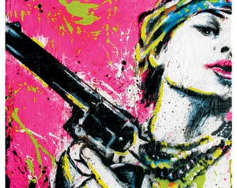 Kacie's Gun - 12 x 12 High Quality Pop Art Print
