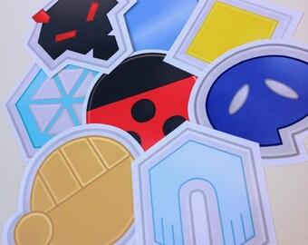 Johto Badges Pokemon 8 Piece Sticker Pack