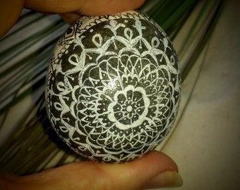 Mandala Stone, Hand Painted and Hand Drawn Egg Shape Rock,Faberge Inspired, Ink Dipped Pen, Home and Indoor Garden, Zen, Meditative Art