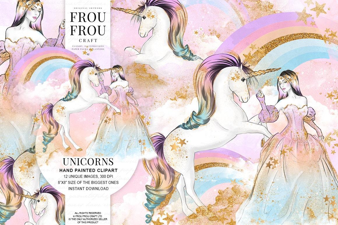 Unicorn Clipart Rainbow Clip Art Princess Graphics Fashion