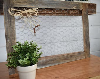 Chicken wire frame made from reclaimed wood, for photos and home decor, farmhouse style, rustic, wedding, vintage, farmhouse charm