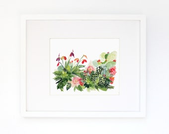 Cactus Panorama - Watercolor Art Print