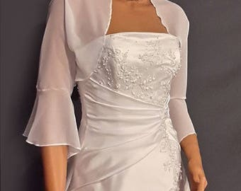 Chiffon bolero jacket 3/4 bell sleeve shrug wedding wrap bridal cover up CBA216 AVAILABLE IN white and 6 other colors. Small - Plus size!