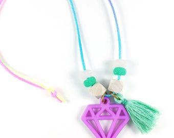 Gem Charm and Tassel Necklace Girls Tassel Necklace